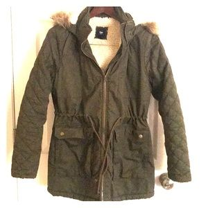 Sherpa lined hooded coat